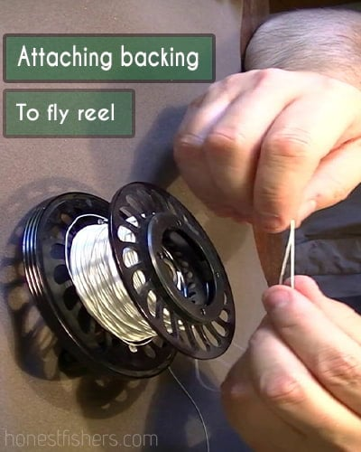 Attaching backing to fly reel